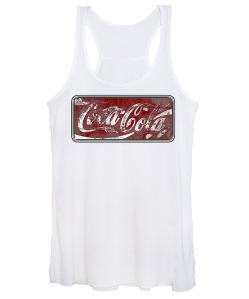Vintage Coca Cola Red And White Sign With Transparent Background Women's Tank Top