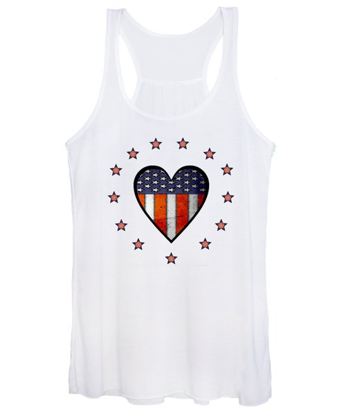 Vintage Patriotic Heart Women's Tank Top