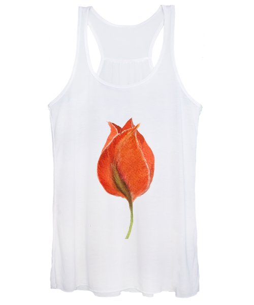 Women's Tank Top featuring the painting Vintage Tulip Watercolor Phone Case by Edward Fielding