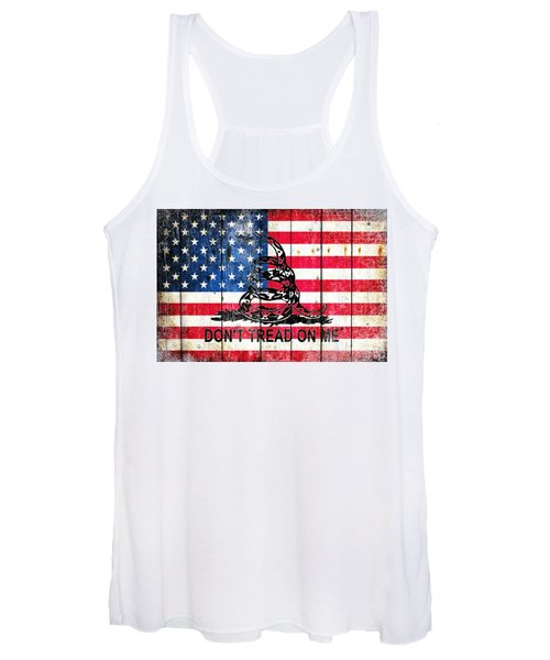 Viper On American Flag On Old Wood Planks Women's Tank Top