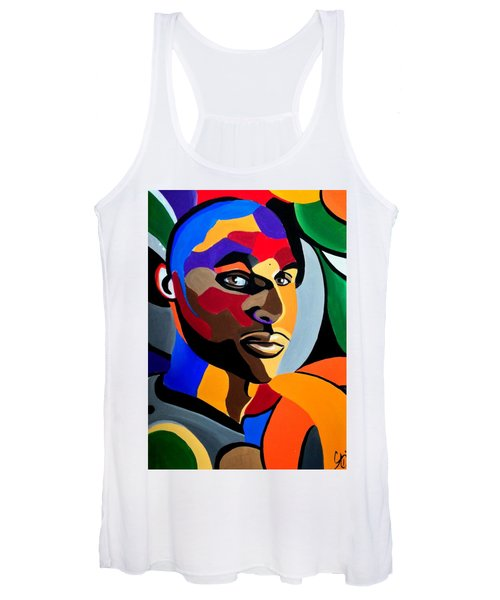 Visionaire, Abstract Male Face Portrait Painting - Illusion Abstract Artwork - Chromatic Women's Tank Top
