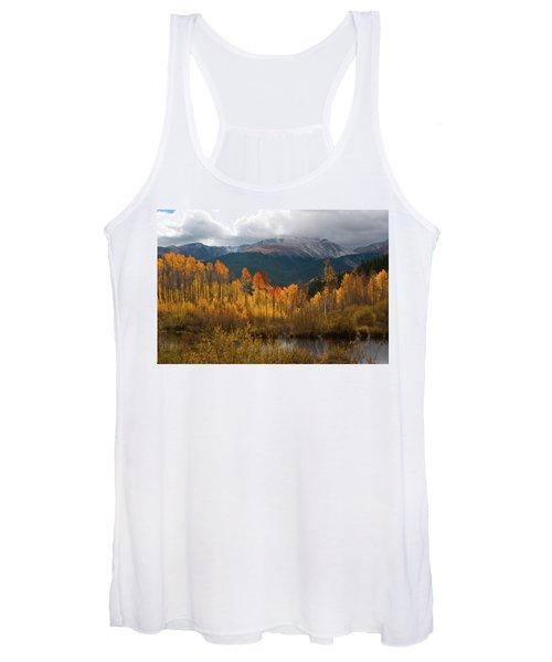 Vivid Autumn Aspen And Mountain Landscape Women's Tank Top