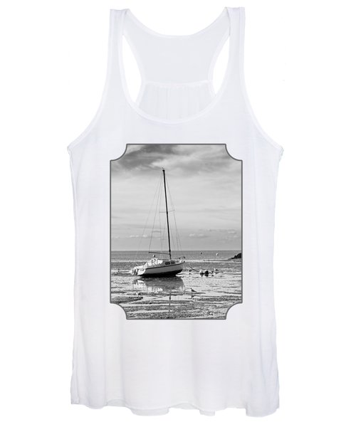 Waiting For High Tide Black And White Women's Tank Top