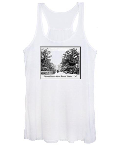 Washington Monument Grounds Baltimore 1900 Vintage Photograph Women's Tank Top