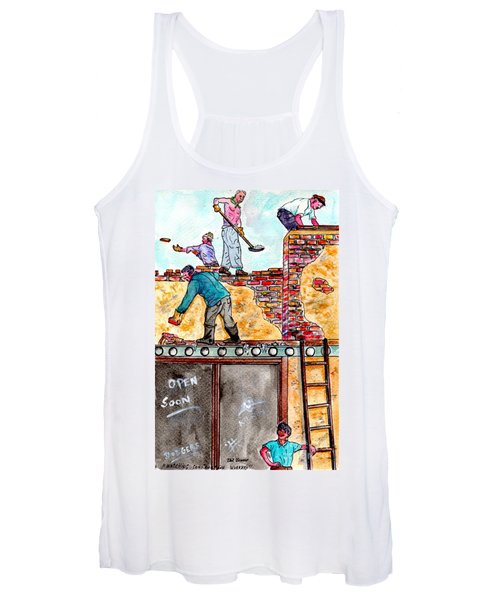 Watching Construction Workers Women's Tank Top