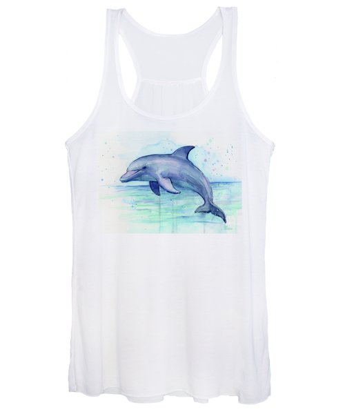 Watercolor Dolphin Painting - Facing Right Women's Tank Top