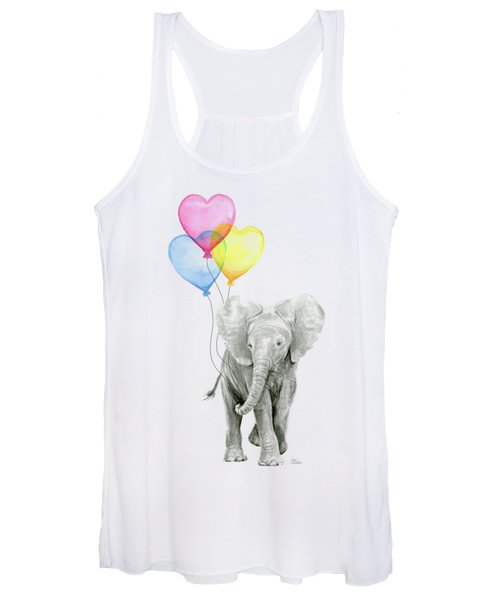 Watercolor Elephant With Heart Shaped Balloons Women's Tank Top