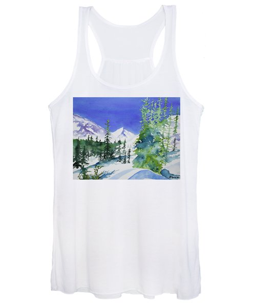 Watercolor - Sunny Winter Day In The Mountains Women's Tank Top