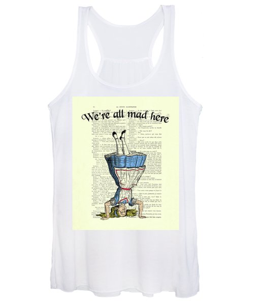 We're All Mad Here Alice In Wonderland Dictionary Art Print Women's Tank Top