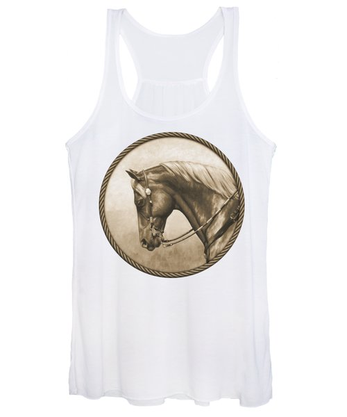 Western Pleasure Quarter Horse In Sepia Women's Tank Top