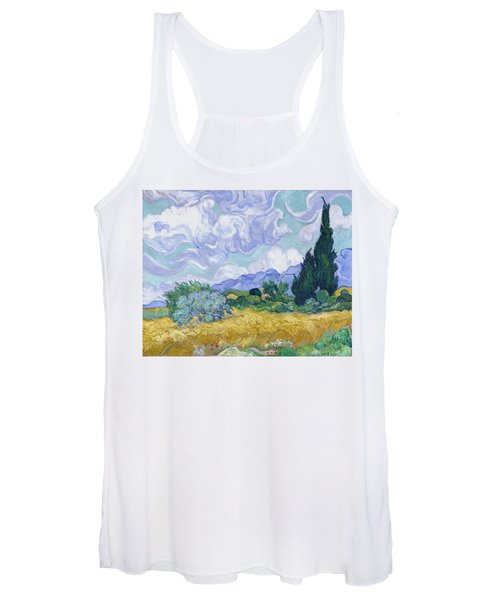 Wheat Field With Cypresses, 1889 Women's Tank Top