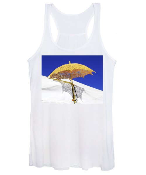 White At Base And Yellow On Blue Women's Tank Top