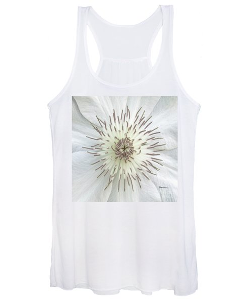White Clematis Flower Macro 50121c Women's Tank Top