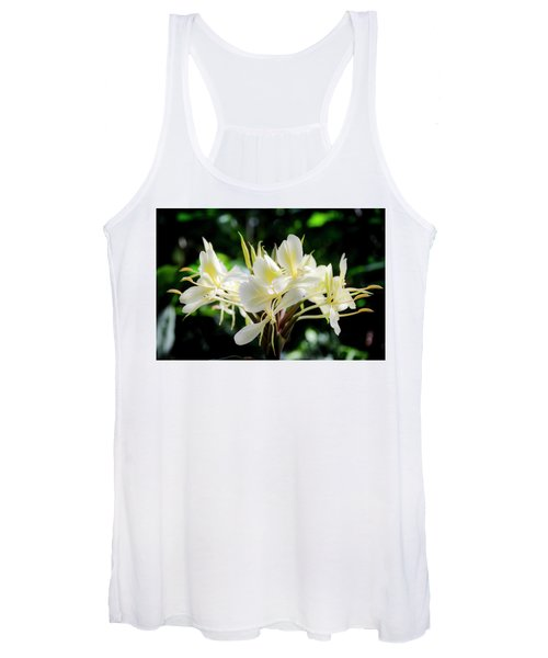 White Hawaiian Flowers Women's Tank Top