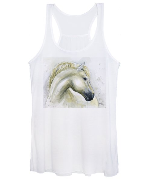 White Horse Watercolor Women's Tank Top