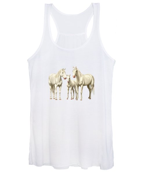 White Horses In Winter Pasture Women's Tank Top
