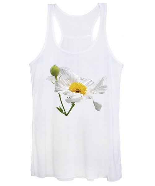 White Matilija Poppy On White Women's Tank Top