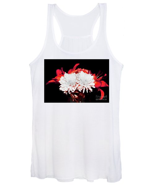 White Mums And Red Lilies Women's Tank Top