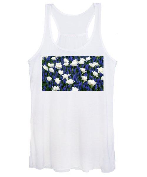 White On Blue Women's Tank Top