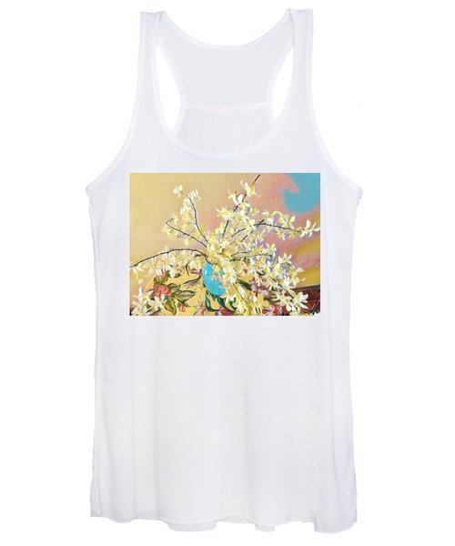 White Orchid Bouquet Pink/blue Women's Tank Top
