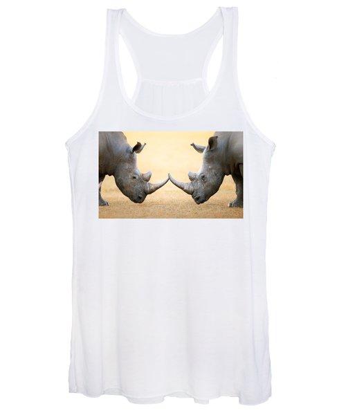 White Rhinoceros  Head To Head Women's Tank Top