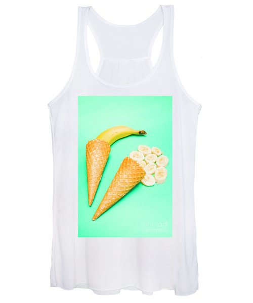 Whole Bannana And Slices Placed In Ice Cream Cone Women's Tank Top