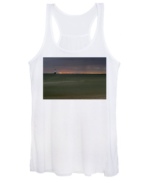 Wide View Of Lighthouse And Sunset Women's Tank Top