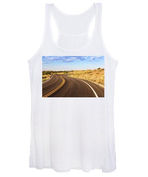 Winding Desert Road At Sunset Women's Tank Top