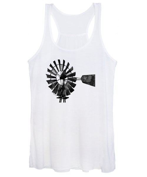 Windmill In Black And White Women's Tank Top