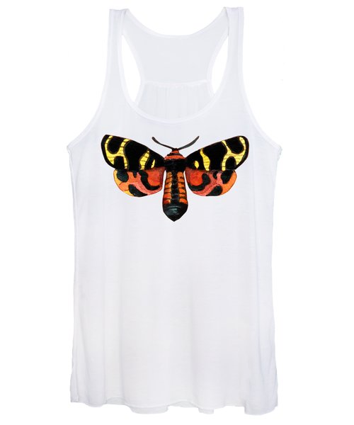 Winged Jewels 5, Watercolor Moth Black Yellow Orange And Red Tropical Women's Tank Top