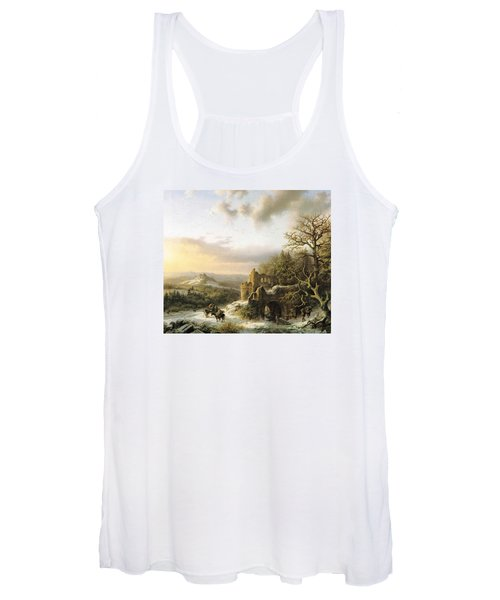 Winter Landscape With Peasants Gathering Wood Women's Tank Top