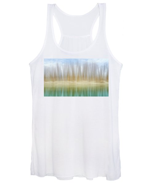 Winter Trees On A River Bank Reflecting Into Water Women's Tank Top