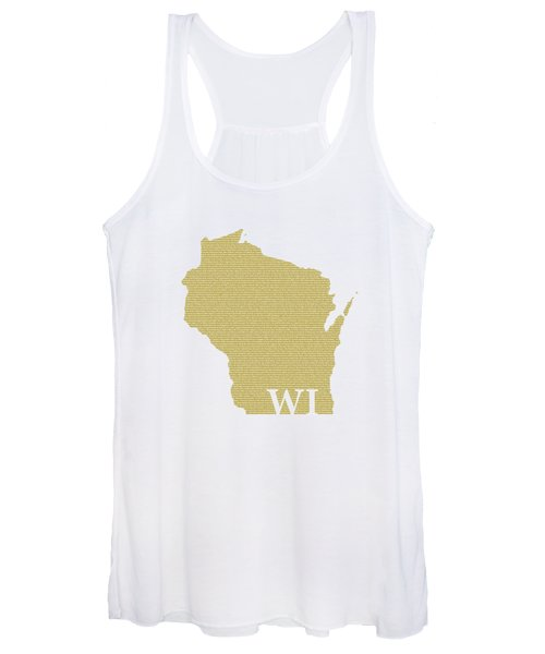 Wisconsin State Map With Text Of Constitution Women's Tank Top