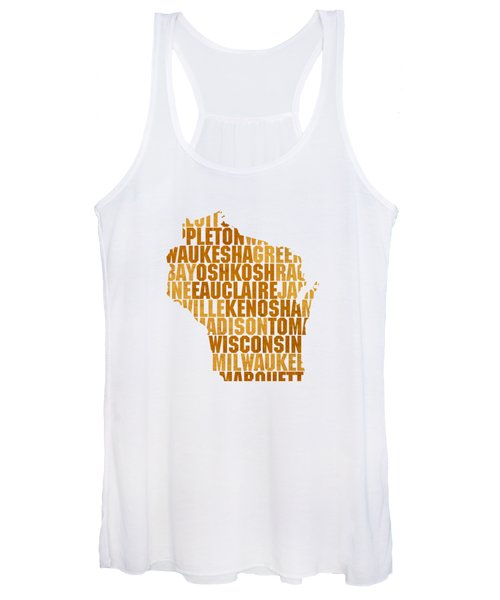 Wisconsin State Outline Word Map Women's Tank Top