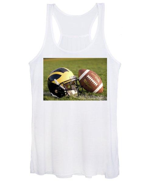 Wolverine Helmet With Football On The Field Women's Tank Top