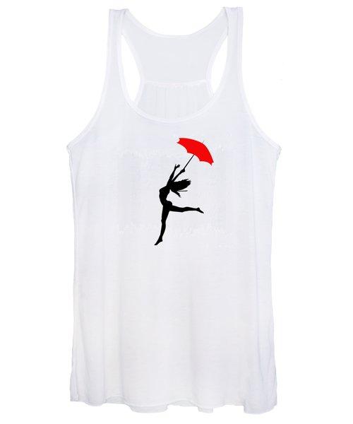 Woman Dancing In The Rain With Red Umbrella Women's Tank Top