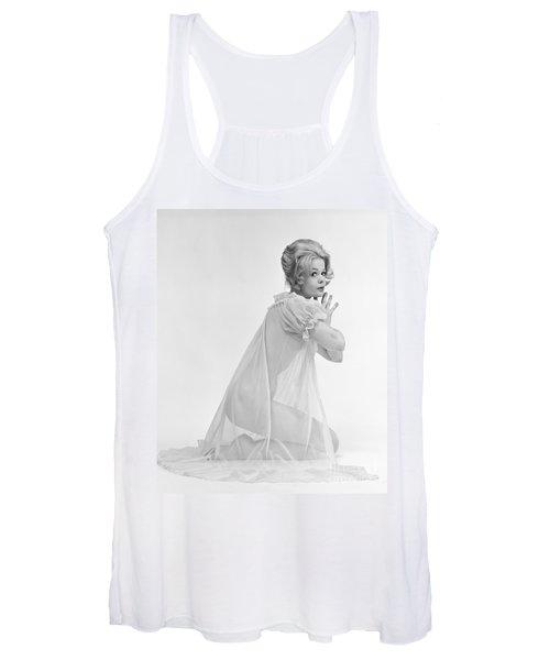 Woman Kneeling In Sheer Gown, C.1960s Women's Tank Top