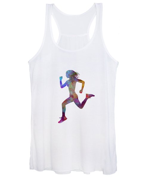 Woman Runner Running Jogger Jogging Silhouette 01 Women's Tank Top