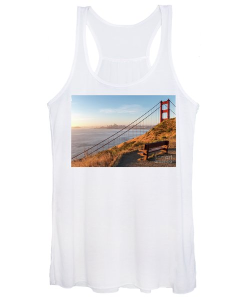 Wooden Bench Overlooking Downtown San Francisco With The Golden  Women's Tank Top