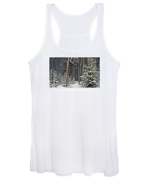 Woodland Snowstorm In Yellowstone Women's Tank Top