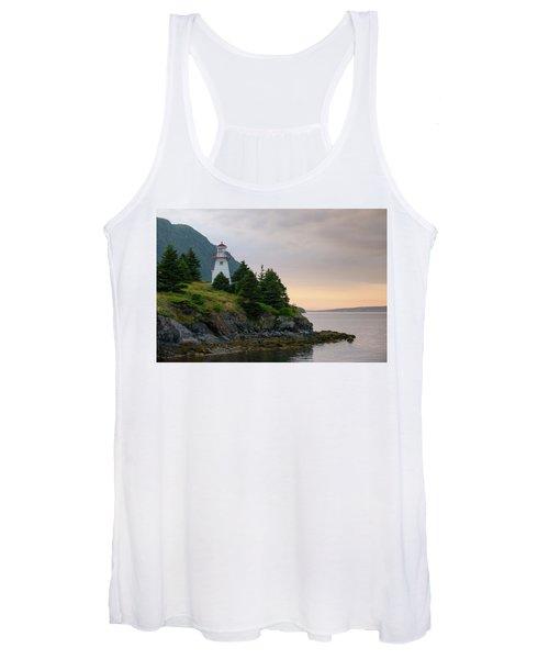Woody Point Lighthouse - Bonne Bay Newfoundland At Sunset Women's Tank Top