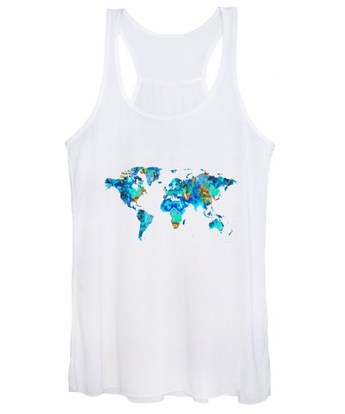 World Map 22 Art By Sharon Cummings Women's Tank Top