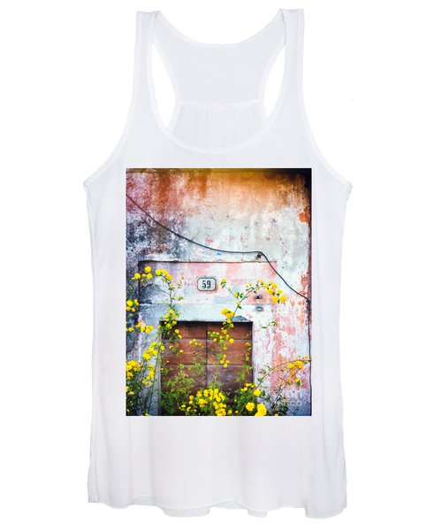 Yellow Flowers And Decayed Wall Women's Tank Top