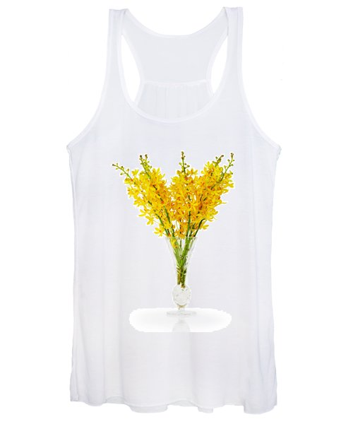 Yellow Orchid In Crystal Vase Women's Tank Top