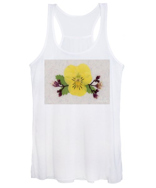 Yellow Pansy And Coral Bells Pressed Flowers Women's Tank Top