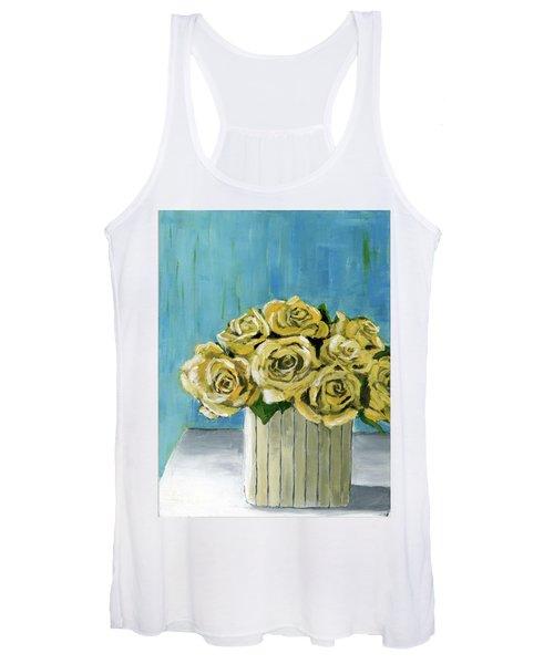 Yellow Roses In Vase Women's Tank Top