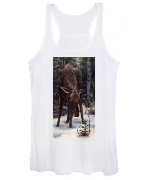 Young Moose And Snowy Forest Springtime In Alaska Wildlife Home Decor Painting Women's Tank Top