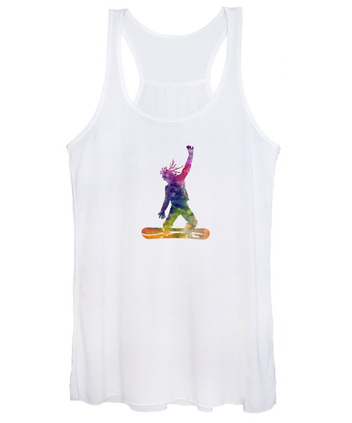 Young Snowboarder Man 01 In Watercolor Women's Tank Top