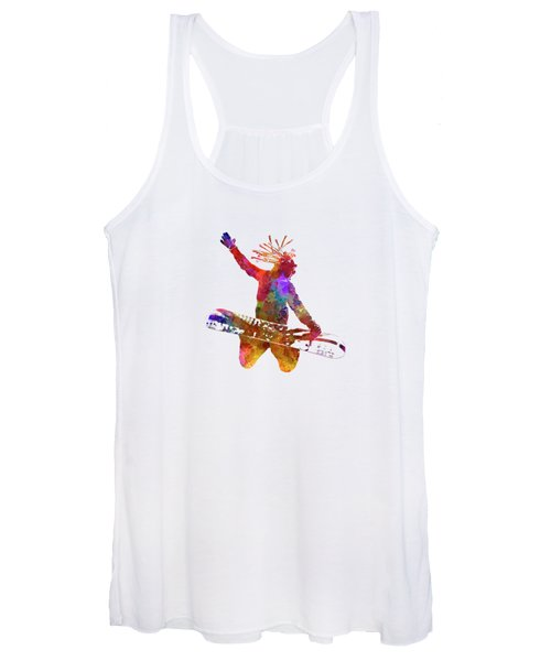 Young Snowboarder Man 02 In Watercolor Women's Tank Top