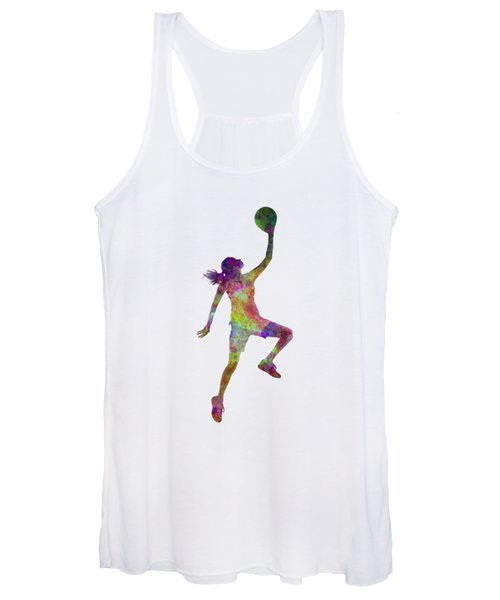 Young Woman Basketball Player 02 In Watercolor Women's Tank Top